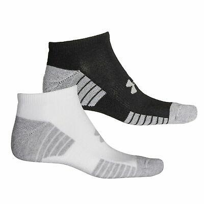 2-pairs Under Armour Men's UA Train No Show Socks, Black White Gray, Large 8-12