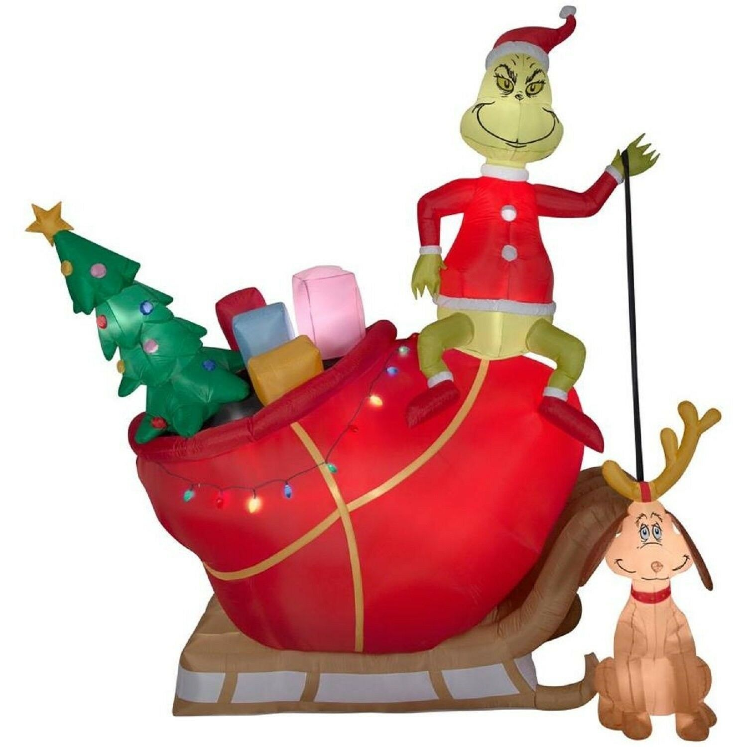 Christmas Inflatable 12' Grinch On Sleigh W/ Dog Max Dr Seuss Airblown By Gemmy