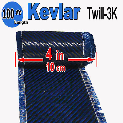 4 In X 100 Ft - Made With Kevlar-carbon Fiber Aramid Fabric - 3k2k-200g- Blue