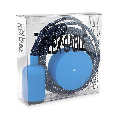 Lampe Abdeckung Set (Textil Kabelset Denim-Mix blau - Fassung und Anschlussabdeckung 3 Meter Kabel)