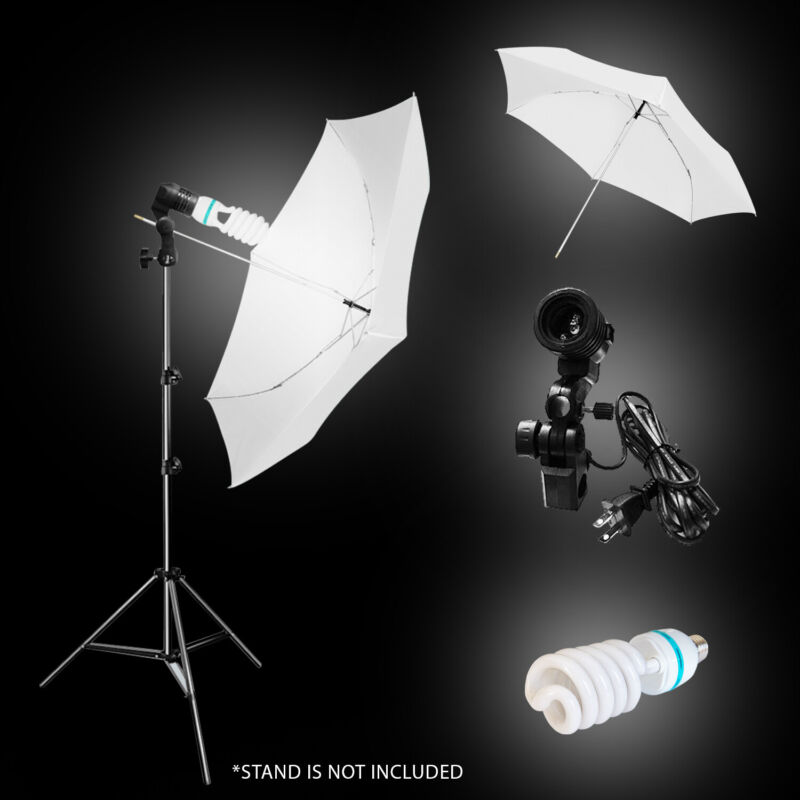 "33"" White Photography Umbrella, Light Holder, Studio Light Bulb Soft Box"
