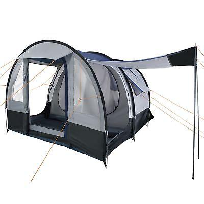 CampFeuer Campingzelt 4 Personen Tunnelzelt Camping Zelt Familienzelt grau schw.