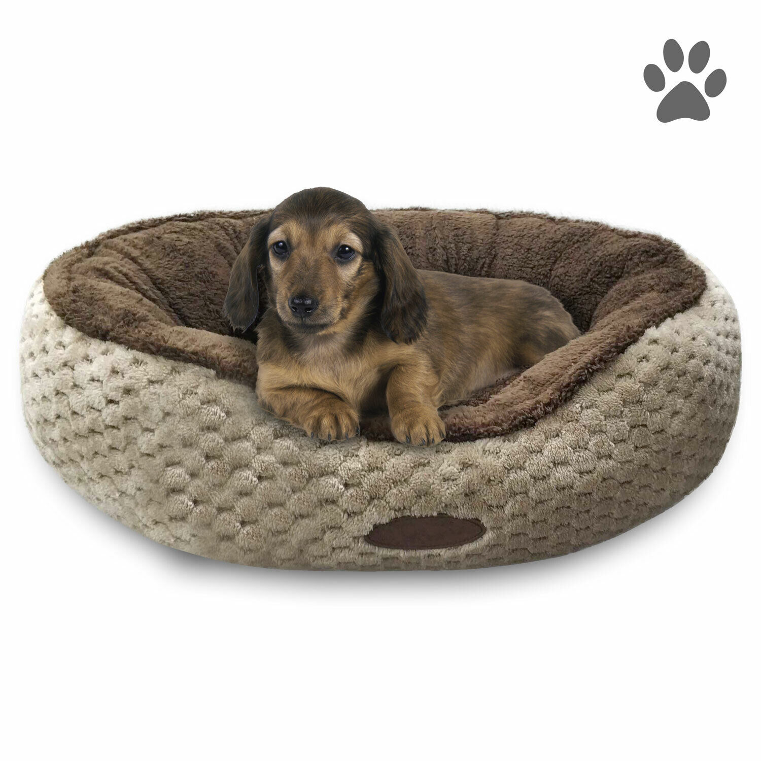 24″ or 28″ Pet Bed Cuddler Small or Medium Washable Brown Microfleece Cozy Soft Beds
