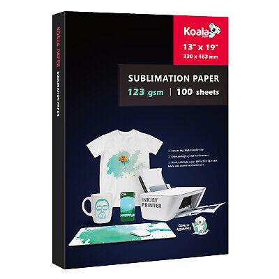 Koala 13x19 Dye Sublimation Ink Heat Transfer Paper Mugs Polyester 100 Sheets