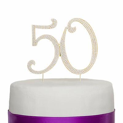 50 Gold Rhinestone Cake Topper - Fifty 50th Birthday Anniversary Decoration - Fifty Birthday Decorations