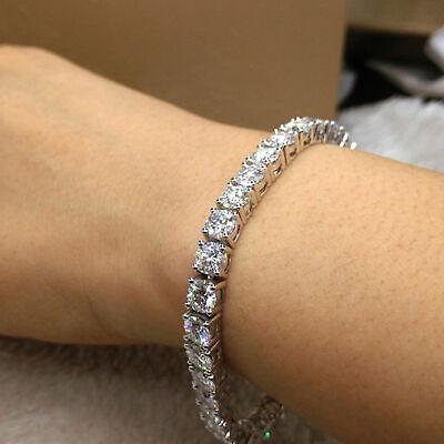 12 Ct Genuine Moissanite Womens Tennis Link Bracelet Free Stud 14k White Gold FN 2