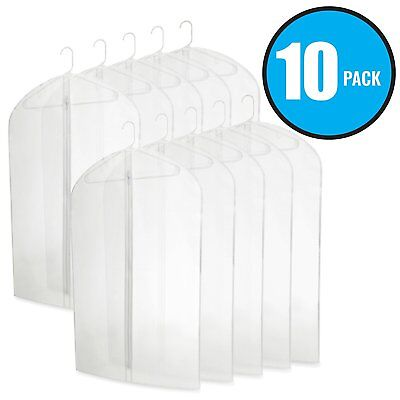 "40"" PEVA Hanging Translucent Garment Bags Travel Storage Dresses Suits 10 Pack ()"