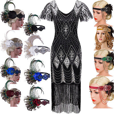 Black Vintage 1920s Flapper Dress Fringe V Neck CapSleeve Evening Gown Plus Size](Fringe Dress Flapper)
