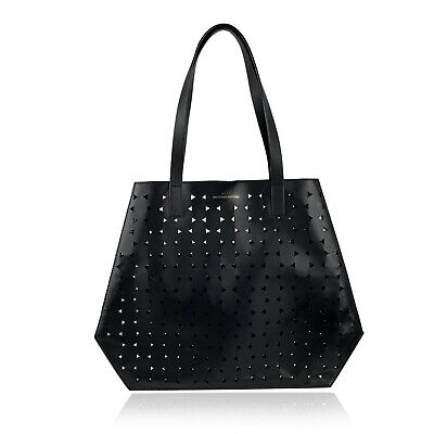 Authentic Desa 1972 Black Perforated Structurated Tote Shoulder Bag