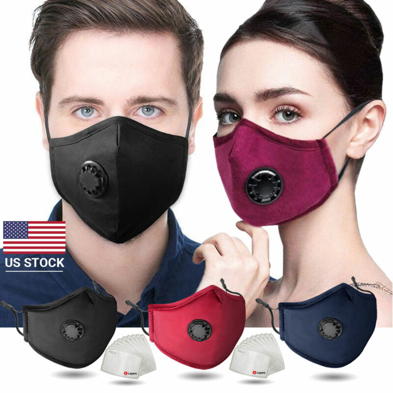 Reusable Pure Cotton Face Mask Washable Face Mask with Filters Breather Valve