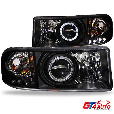 LED Halo Black Projector Headlights Pair For 1994-2001 Dodge RAM 1500 2500 3500