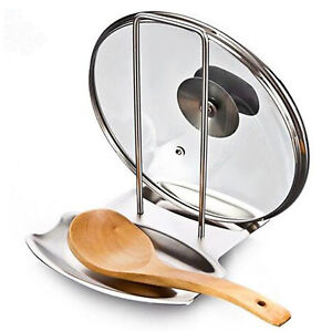 Pot Lid Stand Holder And Spoon Rest Stainless Steel Cooking Tools Organizer