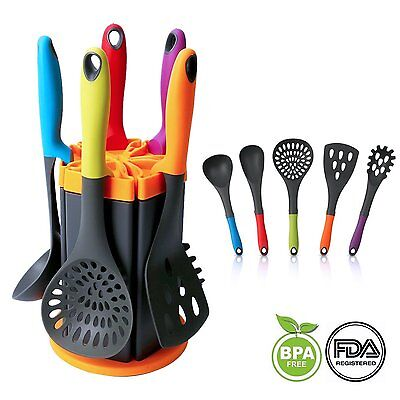 Kitchen Utensil Set, MCIRCO Cooking Set Colorful Durable Heat-Resistant Silicone