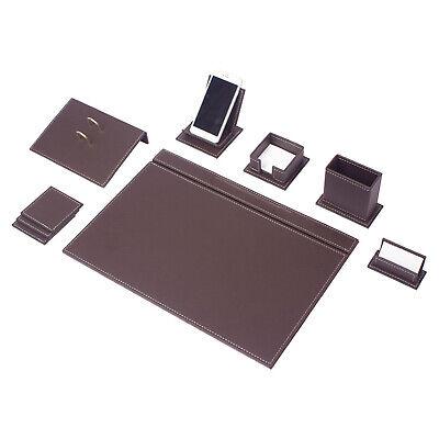 Vegan 9 Pcs Desk Set Desk Blotter Set Leather With Mobile Phone Holder In Brown