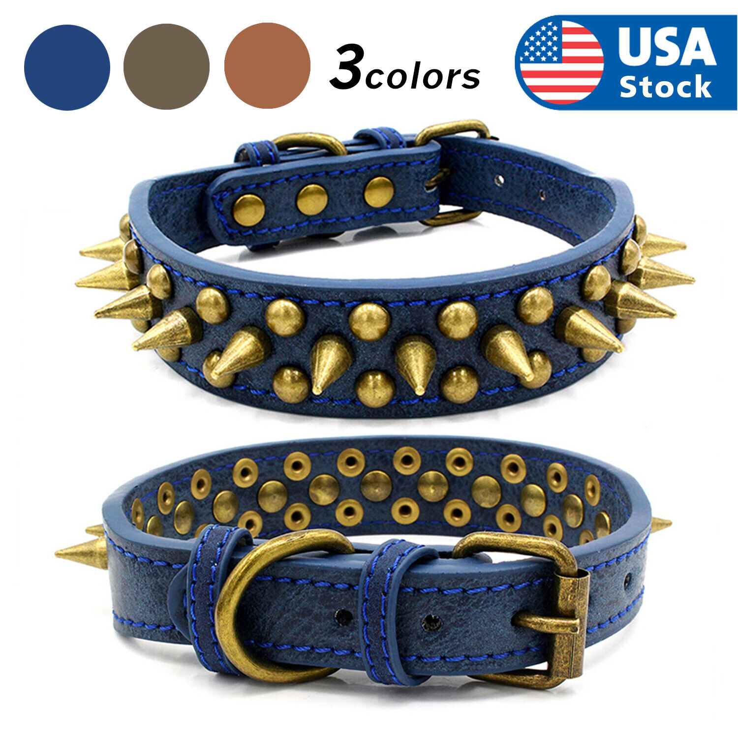 Retro Studded Spiked Rivet Large Dog Pet Leather Collar Pit Bull S-XL Collars