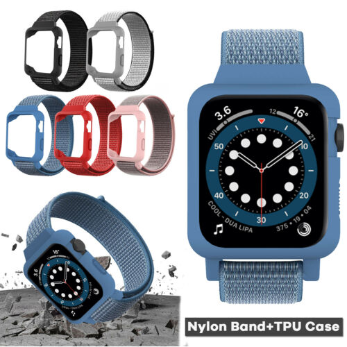For Apple Watch Series SE/6/5/4/3 38/40/42/44mm iWatch Band Nylon Strap+TPU Case