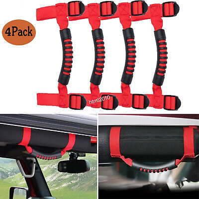 Jeep Roll Cages - Red--Grab Handle Grips Hand Roll Cages fit Jeep Wrangler UTV Roll Bars Set of 4