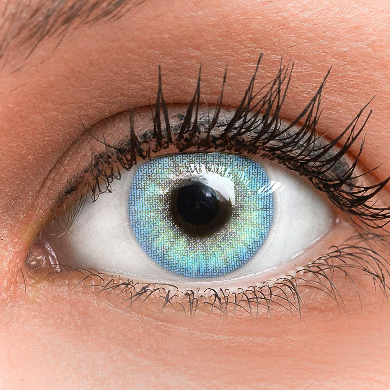 Farbige blaue Silikon Kontaktlinsen mit ohne Stärke weich Jasmine hellblau blau