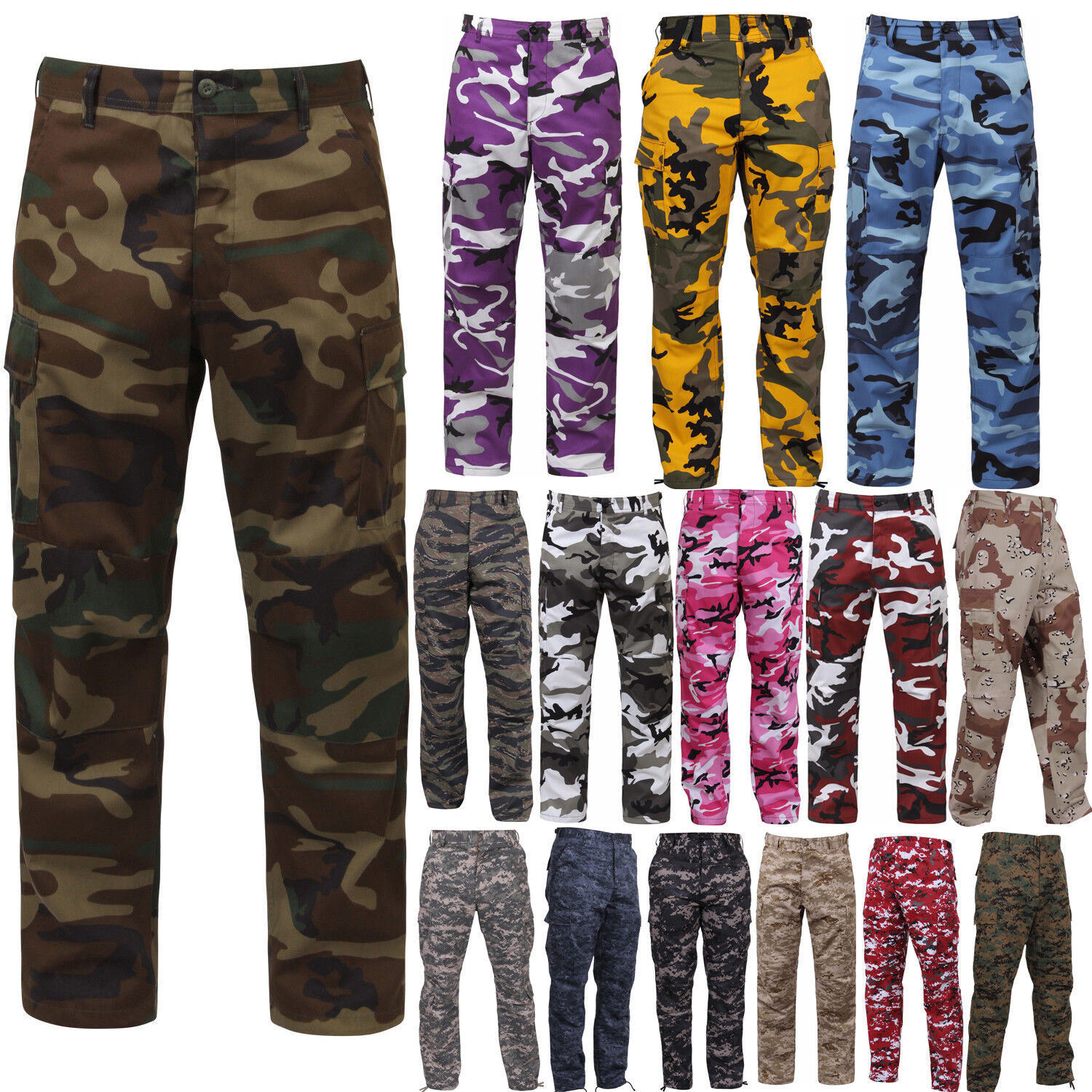 Tactical BDU Pants, Camo Cargo Uniform 6-Pocket, Camouflage