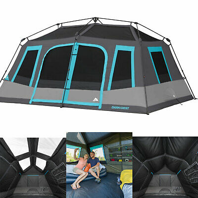 10 Person Cabin Tent - Large 10-Person Instant Cabin Tent Dark Rest Blackout Windows Outdoor Camping