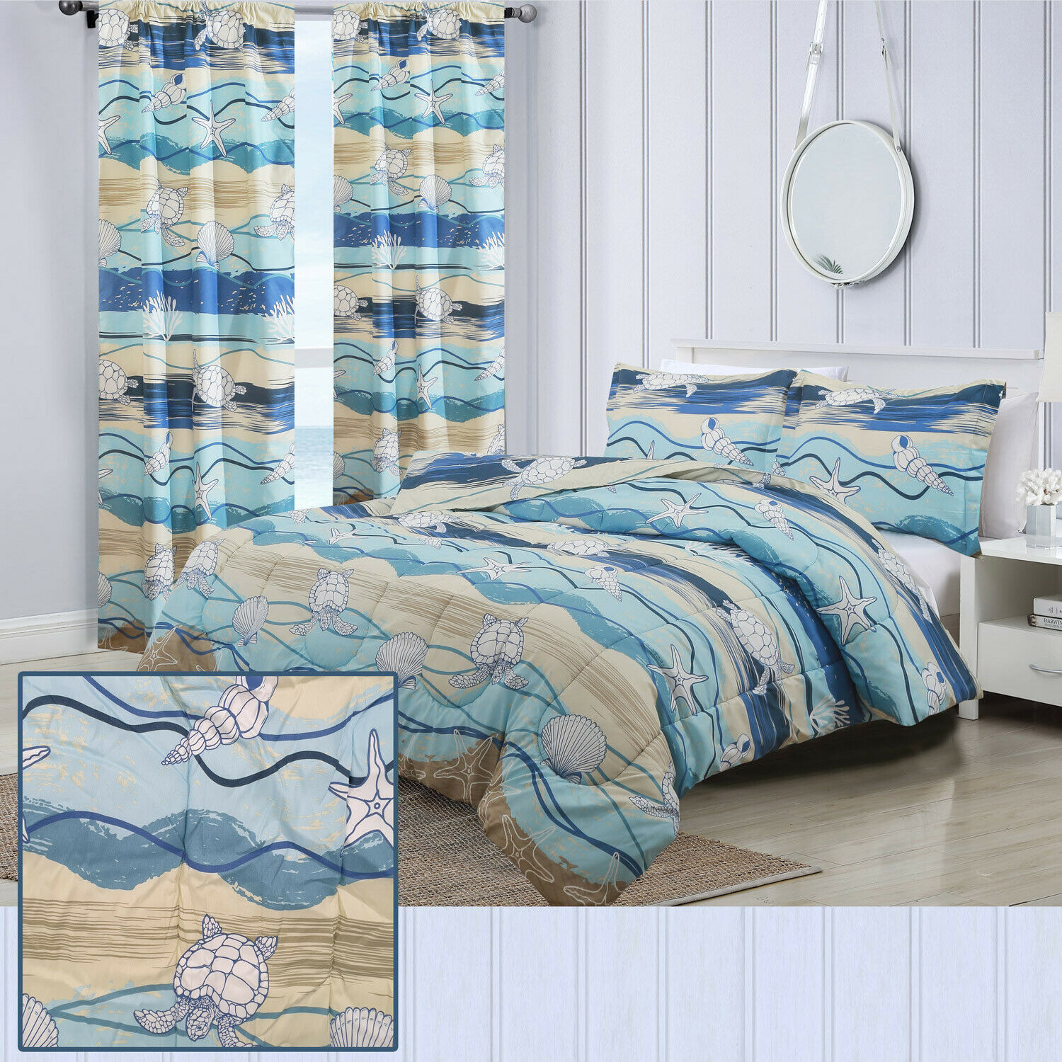 Twin, Full/Queen, or King Beach Waves Comforter Bedding Set or Window Curtains Bedding