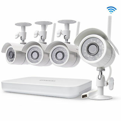Zmodo 1080p 8CH NVR 4 WiFi Camera Outdoor/Indoor Home Surveillance System No HDD