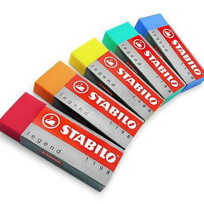 5 x Stabilo Legend Coloured Erasers Plastic Rubber erasers - 1 of Each Colour
