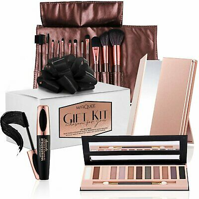 Gift Set: Makeup Brushes, Mascara, Eye Shadow -12 Colors & Vanity Mirror Eye Shadow
