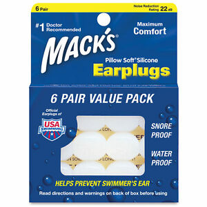 Macks Pillowsoft Moldable Silicone Earplugs 6 Pairs Pillow Soft Ear Plugs
