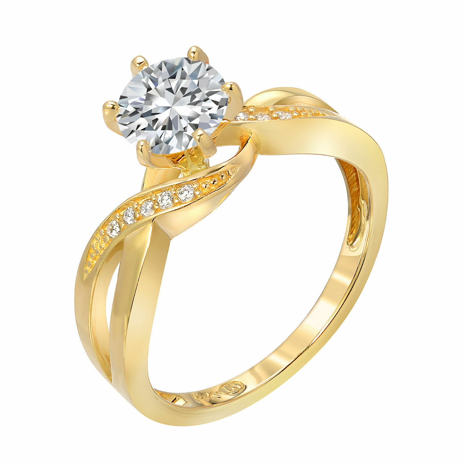 Engagement Ring Solitaire 14K Yellow Gold 1.10 Ct Round
