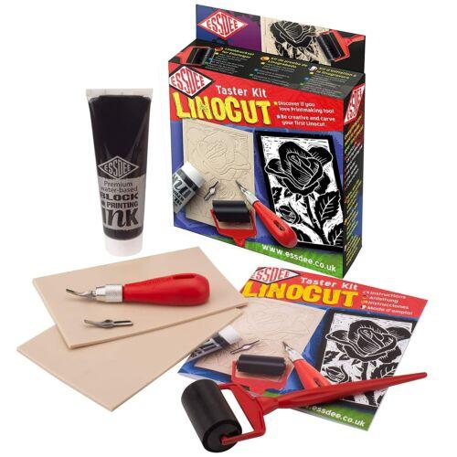 Essdee PREMIUM Block Printing Kit Lino Tile Ink & Carving Cutter Tool Set Plate
