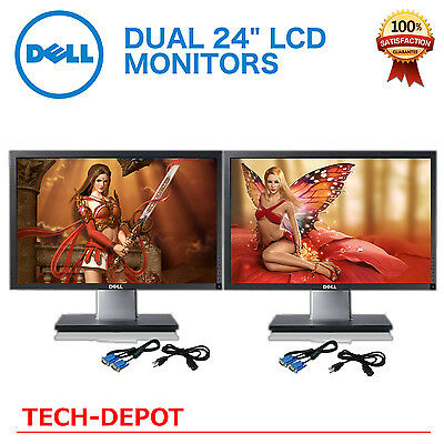 "Matching DUAL LARGE DELL Ultrasharp 24"" Widescreen LCD Monitors w/ cables Gaming"