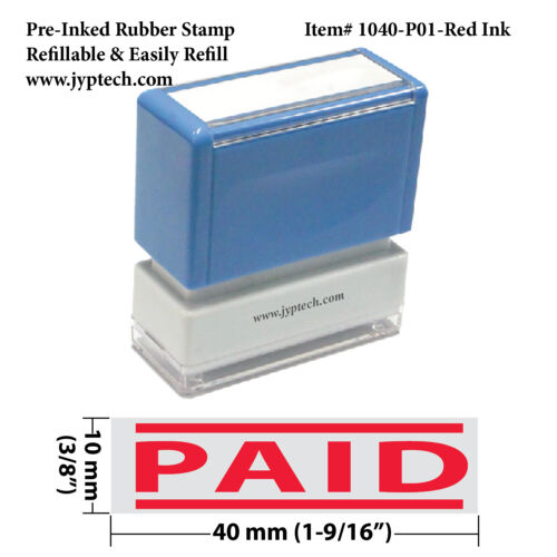 PAID//Pre-Inked Rubber Stamp//1040-P01-Red Ink