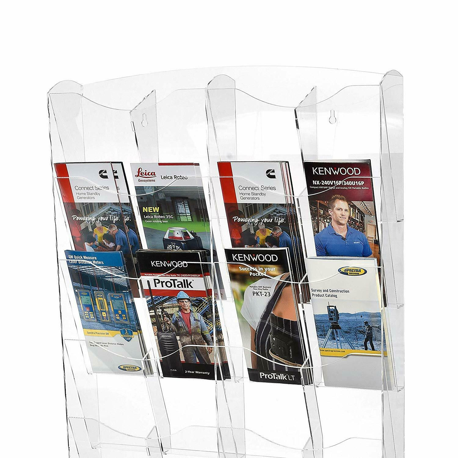 Adjustable Easy Installation Clear Acrylic Storage Pockets Durable AdirOffice Hanging Magazine Rack Wall Mounted Newspaper /& Brochure Holder 20 x 23, Black