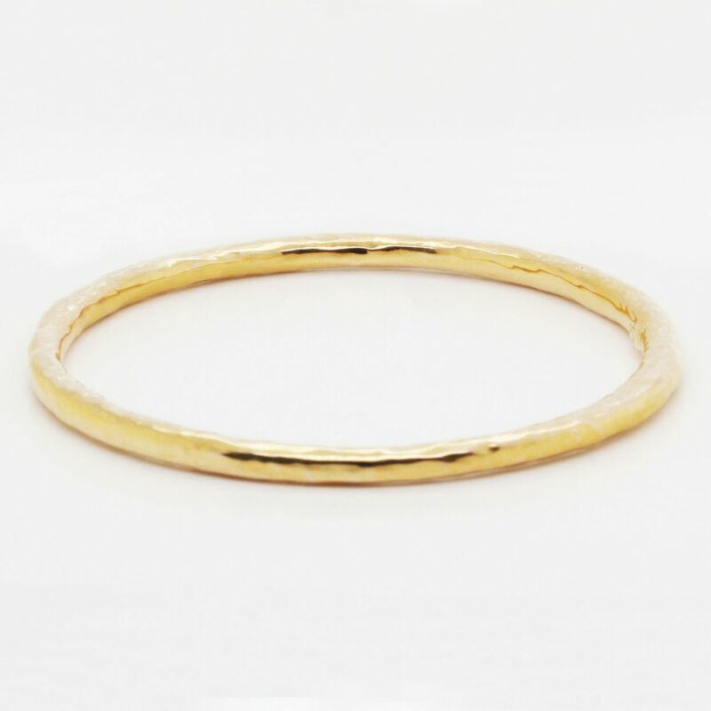 Ipolitta Classico Hammered Flat Bangle Bracelet in 18K Yellow Gold
