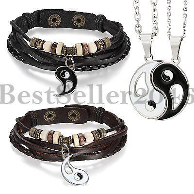 Retro necklace pendantebay 1 retro ying yang taiji bagua pendant braided leather couple bracelet necklace 4pc mozeypictures Images
