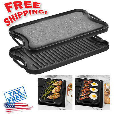(Pre-Seasoned Cast Iron Reversible Grill Griddle Pan Hamburger Steak Stove Top Fr)