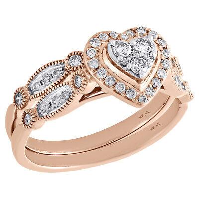 14K Rose Gold Diamond Bridal Set Heart Engagement Ring + Wedding Band 0.50 Ct.