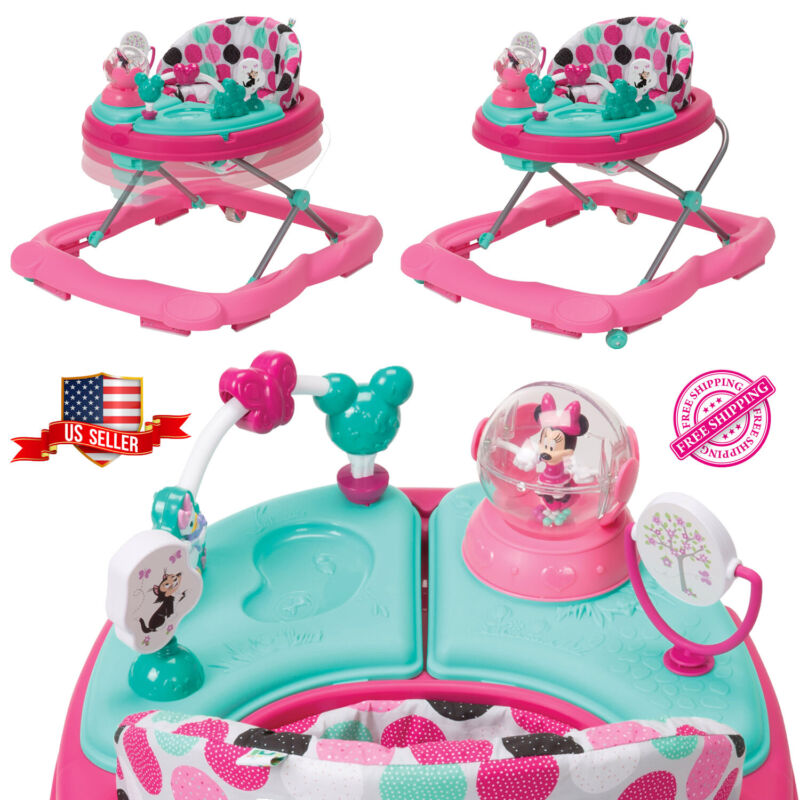 Disney Walker Baby Music and Lights with Activity Snack Tray Minnie Dotty Girls