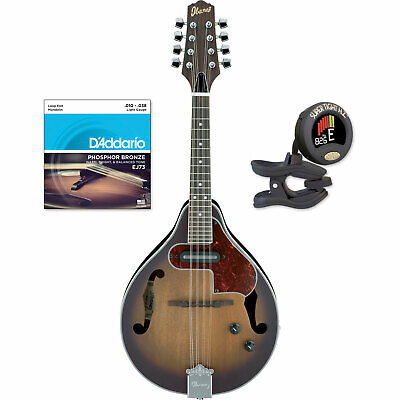 Ibanez M510E Acoustic-Electric Mandolin Vintage Sunburst with Strings and Tuner