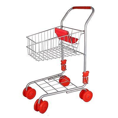 Simon 9328 Kinder Einkaufswagen Metall klappbar zu Kaufladen ROT/SILBER