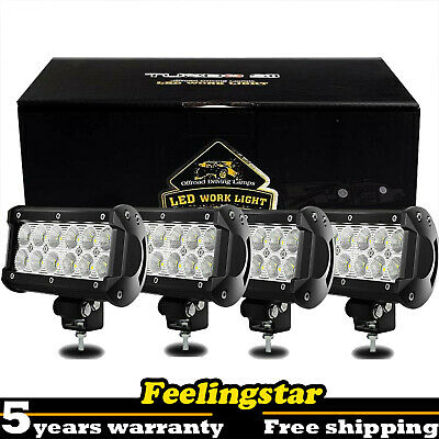 4X 7INCH 36W FLOOD LED WORK LIGHT BAR OFFROAD DRIVING FOG TRUCK BOAT 4WD VS