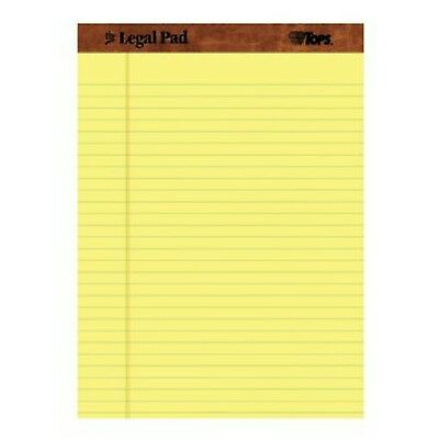 Tops Legal Pad Perforated Wide Rule 50 Sheets Per Pad 12 Pads Pack Canary Yellow