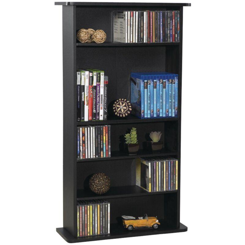 Adjustable 5 Shelf Wood Bookcase CD DVD Media Storage Cabinet Bookshelf Furnitur