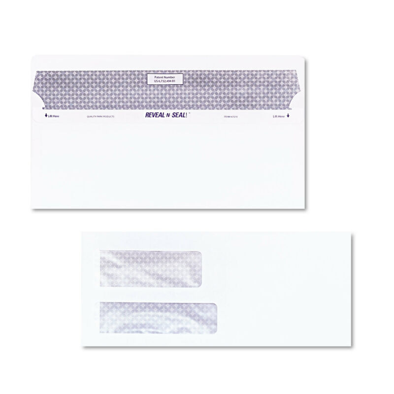 Quality Park Reveal N Seal Double Window Invoice Envelope Self Adhesive White
