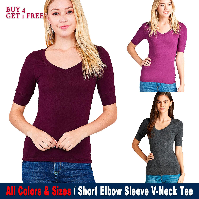 Women's V-Neck Elbow 3/4 Sleeve Basic T-Shirt Top Stetchy Te