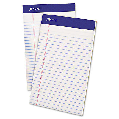 Ampad Perforated Writing Pad Narrow 5 X 8 White 50 Sheets Dozen 20304
