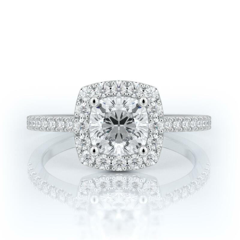 2 Carat E Si1 Certified Cushion Cut Diamond Engagement Ring 14k White Gold