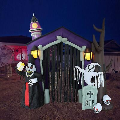 Inflatable Haunted House Castle Halloween With Skeleton Ghost Skulls 8.5 Foot