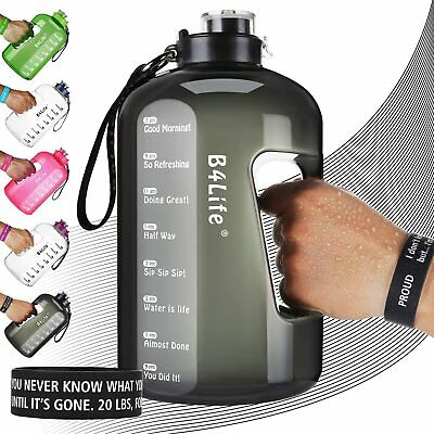 B4Life 1 Gallon Water Bottle with Time Marker, BPA-Free Water Bottle, Leakproof